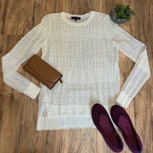 Ann Taylor Ivory Fine Knit Sweater Top Small